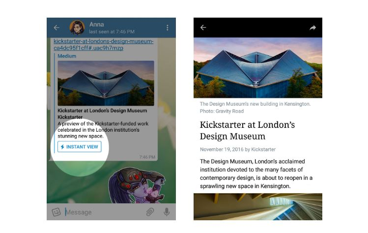 Telegram introduces two new features – Instant View & Telegraph